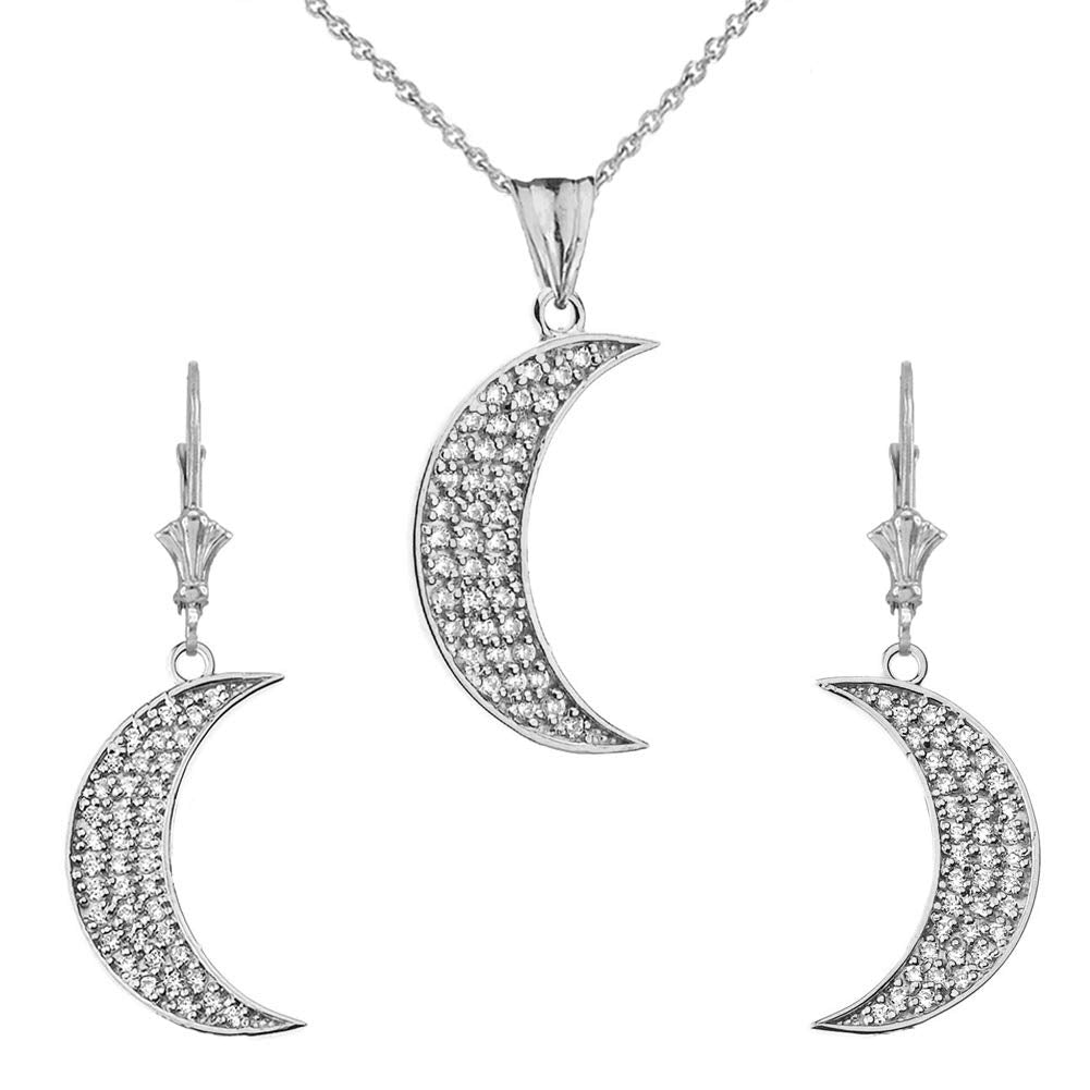 CaliRoseJewelry Sterling Silver Crescent Moon Cubic Zirconia Pendant Necklace and Earrings Set