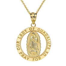 Load image into Gallery viewer, CaliRoseJewelry 14k Gold Our Lady of Guadalupe Pray for Us Round Charm Pendant Necklace