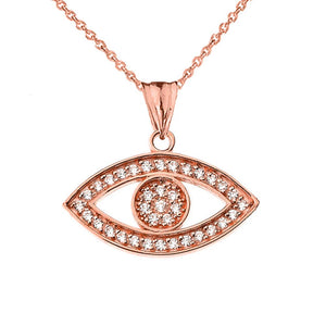 CaliRoseJewelry 14k Gold Evil Eye Diamond Pendant Necklace and Earrings Set