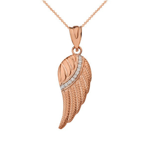 10k Rose Gold Diamond Feather Angel Wing Diamond Pendant Necklace - Small