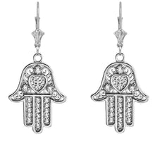 Load image into Gallery viewer, 14k Gold Hamsa Hand of Protection Heart Diamond Earrings
