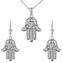 Load image into Gallery viewer, CaliRoseJewelry Sterling Silver Hamsa Hand Heart Cubic Zirconia Pendant Necklace and Earrings Set