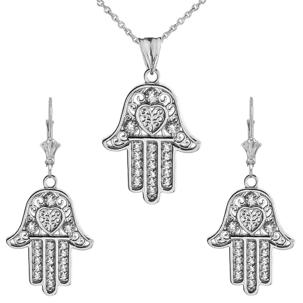 CaliRoseJewelry Sterling Silver Hamsa Hand Heart Cubic Zirconia Pendant Necklace and Earrings Set