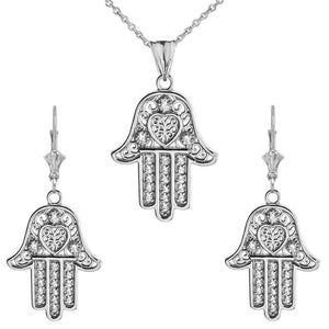 CaliRoseJewelry 14k Gold Hamsa Hand Heart Cubic Zirconia Pendant Necklace and Earrings Set