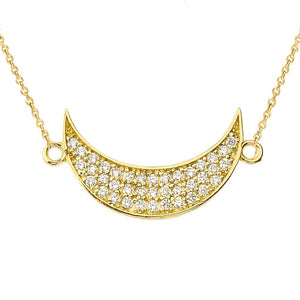 CaliRoseJewelry 14k Gold Sideways Crescent Moon Diamond Pendant Necklace