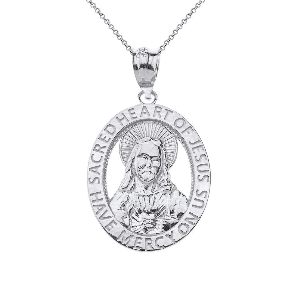 CaliRoseJewelry Sterling Silver Sacred Heart Jesus Have Mercy on Us Oval Pendant Necklace