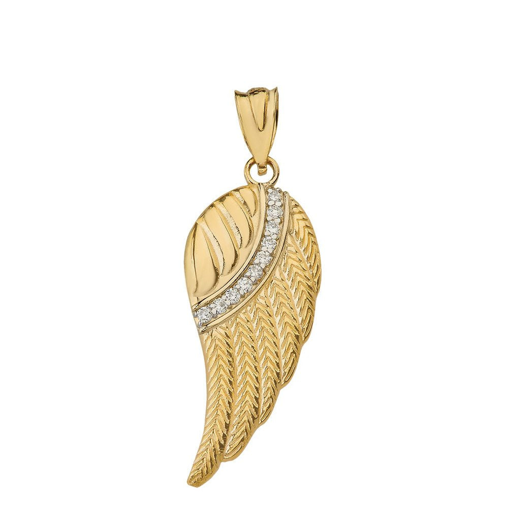 CaliRoseJewelry 10k and 14k Yellow Gold Feather Angel Wing Diamond Pendant