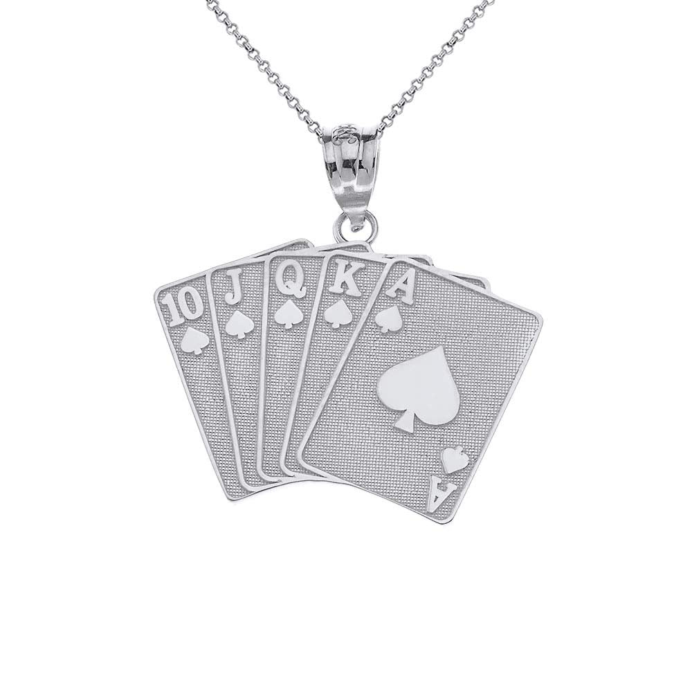 CaliRoseJewelry Sterling Silver Lucky Royal Flush of Spades Poker Hand Pendant Necklace