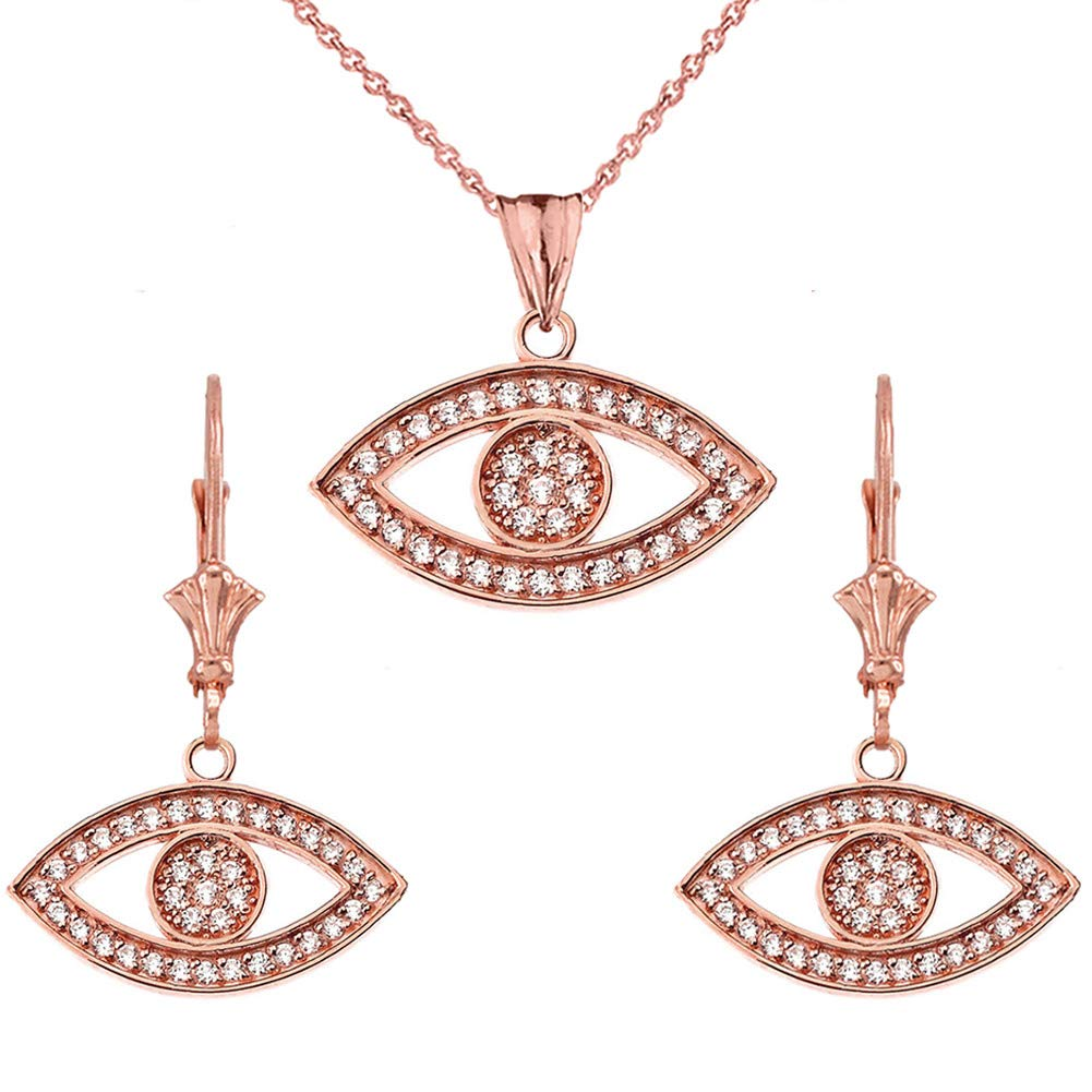 CaliRoseJewelry 14k Yellow Gold Evil Eye Cubic Zirconia Pendant Necklace and Earrings Set