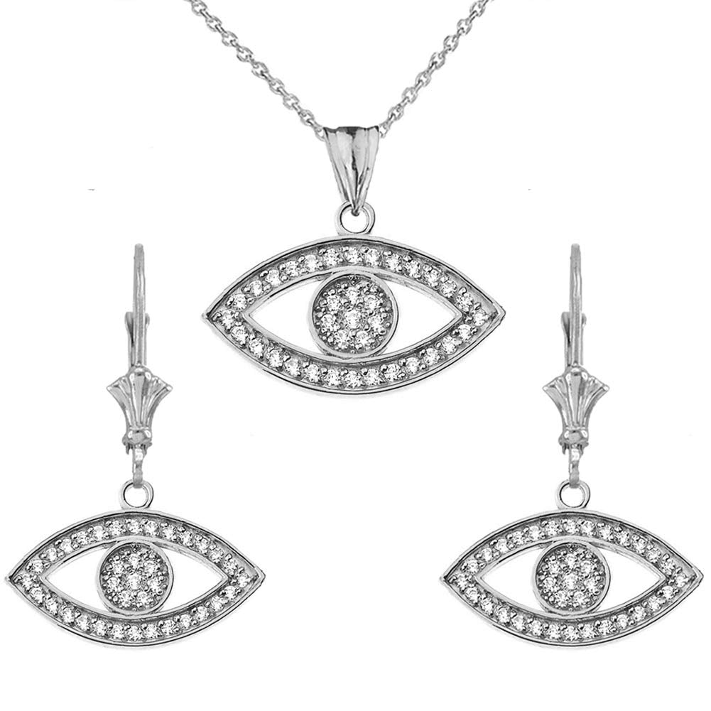 CaliRoseJewelry Sterling Silver Evil Eye Cubic Zirconia Pendant Necklace and Earrings Set