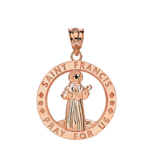 CaliRoseJewelry 14k Gold Saint Francis of Assisi Pray for Us Round Charm Pendant
