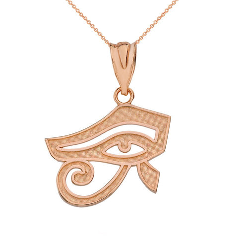 10k Rose Gold Egyptian Eye of Horus Pendant Necklace