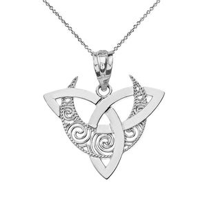 CaliRoseJewelry Sterling Silver Crescent Moon Celtic Triquetra Trinity Knot Pendant Necklace