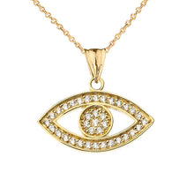 Load image into Gallery viewer, CaliRoseJewelry 10k Gold Evil Eye Cubic Zirconia Pendant Necklace