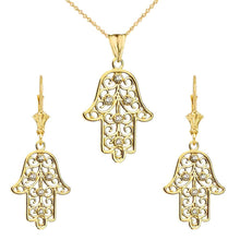 Load image into Gallery viewer, CaliRoseJewelry 14k Yellow Gold Hamsa Hand Diamond Pendant Necklace and Earrings Set