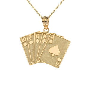 CaliRoseJewelry 14k Lucky Royal Flush of Spades Poker Hand Pendant Necklace