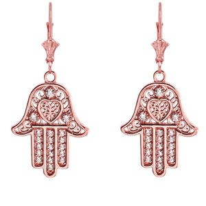 14k Gold Hamsa Hand of Protection Heart Cubic Zirconia Earrings