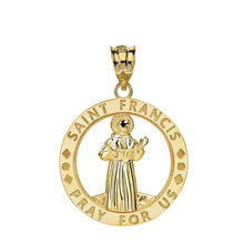 Load image into Gallery viewer, CaliRoseJewelry 14k Gold Saint Francis of Assisi Pray for Us Round Charm Pendant