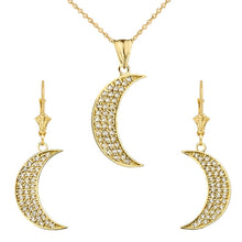 Load image into Gallery viewer, CaliRoseJewelry 10k Yellow Gold Crescent Moon Diamond Pendant Necklace and Earrings Set