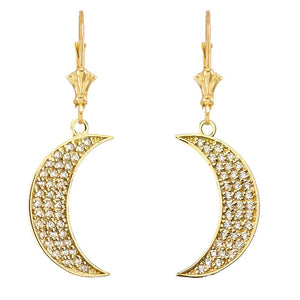 CaliRoseJewelry 10k Yellow Gold Crescent Moon Cubic Zirconia Pendant Necklace and Earrings Set