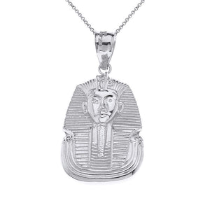 CaliRoseJewelry Sterling Silver Egyptian Pharaoh King TUT Pendant Necklace