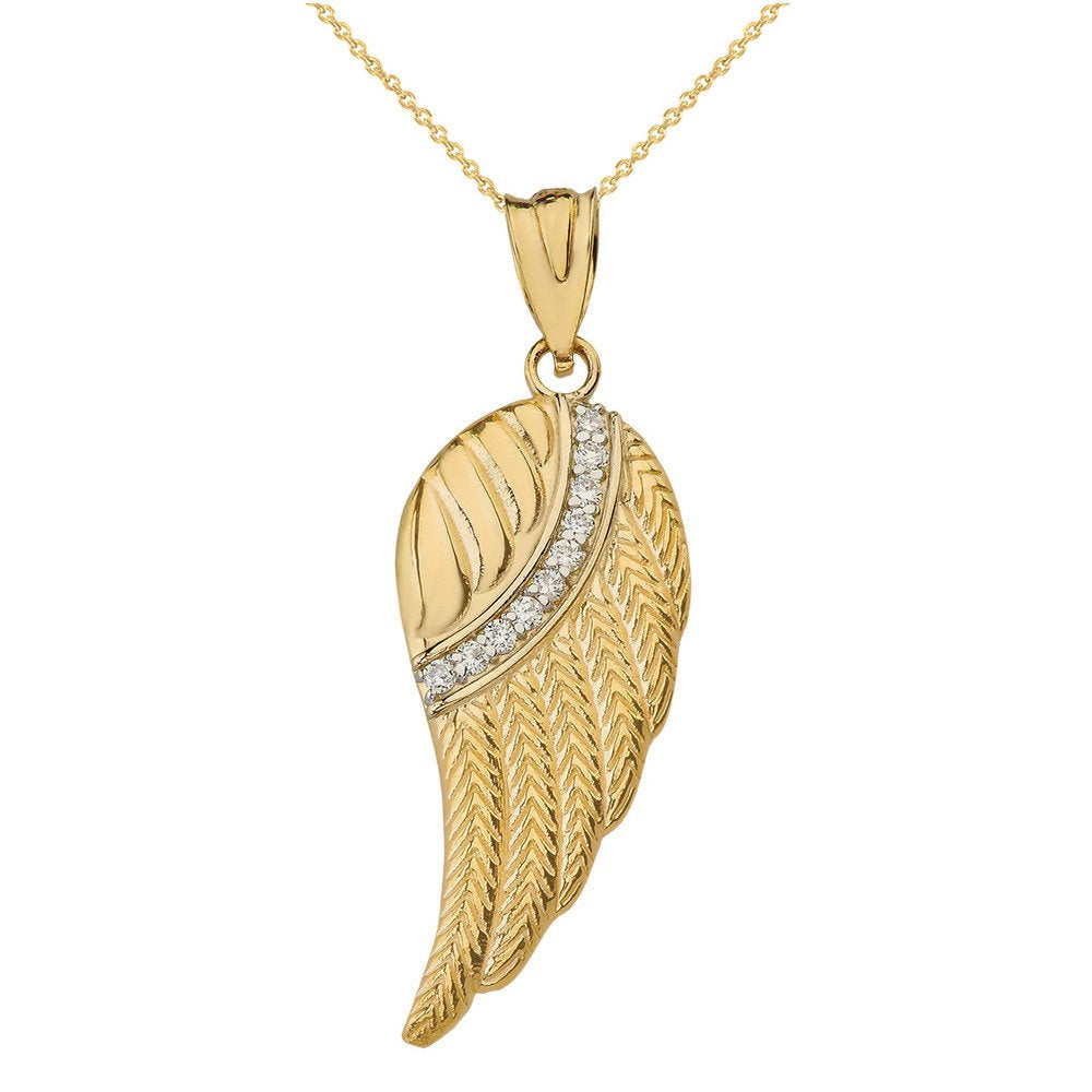 10k Yellow Gold Diamond Feather Angel Wing Diamond Pendant Necklace - Large
