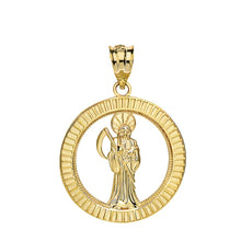 Load image into Gallery viewer, CaliRoseJewelry 10k Gold Santa Muerte Round Charm Pendant