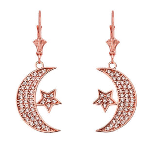 14k Gold Crescent Moon and Star Symbol Cubic Zirconia Earrings