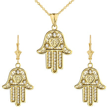 Load image into Gallery viewer, CaliRoseJewelry 10k Yellow Gold Hamsa Hand Heart Cubic Zirconia Pendant Necklace and Earrings Set