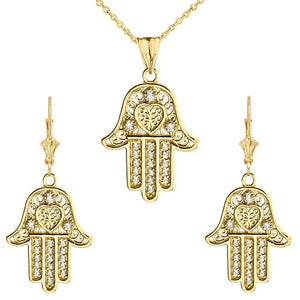 CaliRoseJewelry 10k Yellow Gold Hamsa Hand Heart Cubic Zirconia Pendant Necklace and Earrings Set