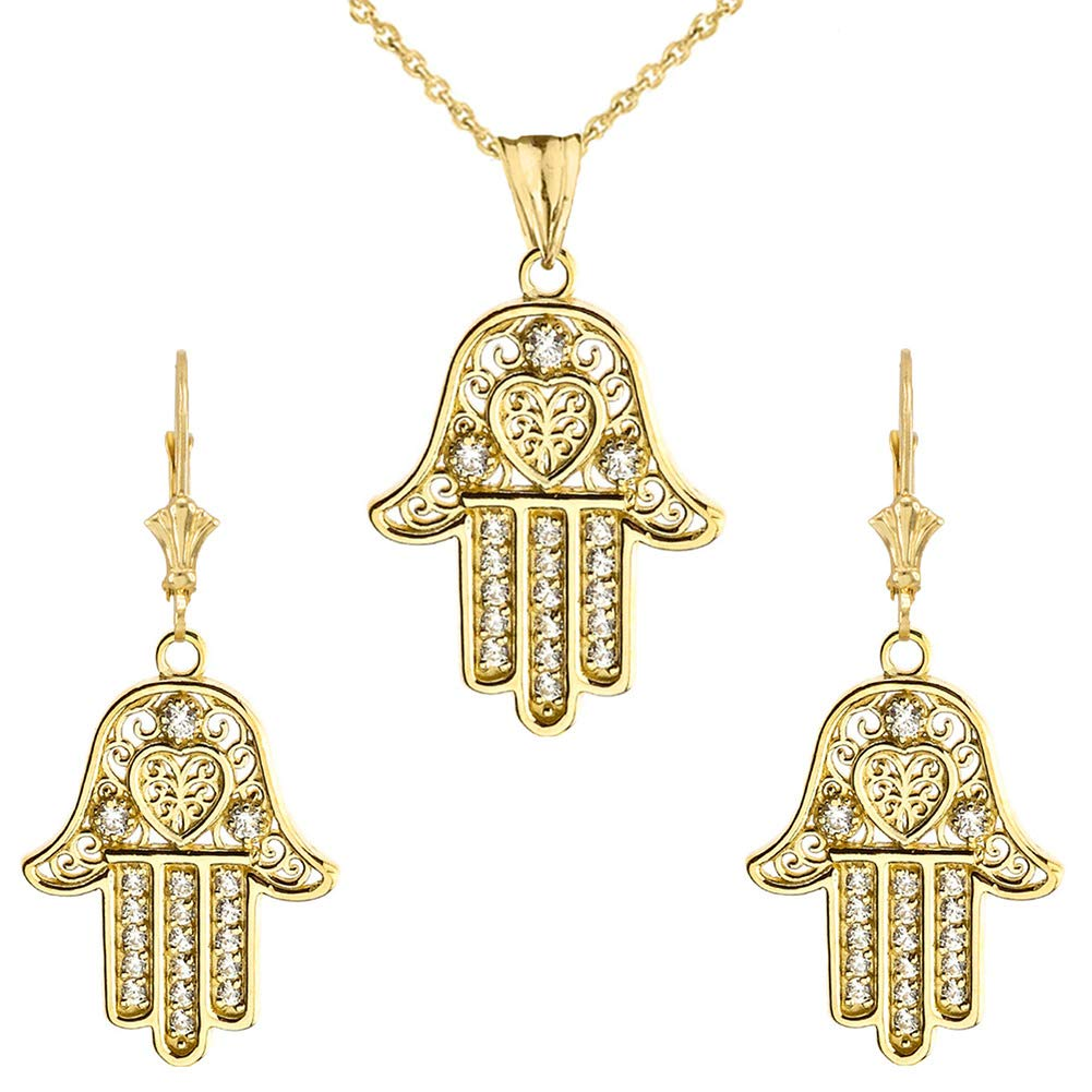 CaliRoseJewelry 10k Yellow Gold Hamsa Hand Heart Diamond Pendant Necklace and Earrings Set