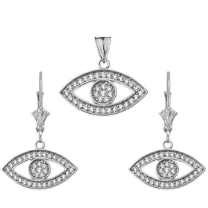CaliRoseJewelry Sterling Silver Evil Eye Cubic Zirconia Pendant and Earrings Set