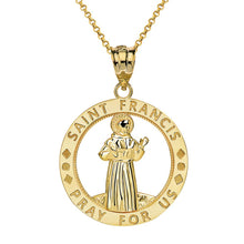 Load image into Gallery viewer, CaliRoseJewelry 14k Gold Saint Francis of Assisi Pray for Us Round Charm Pendant Necklace