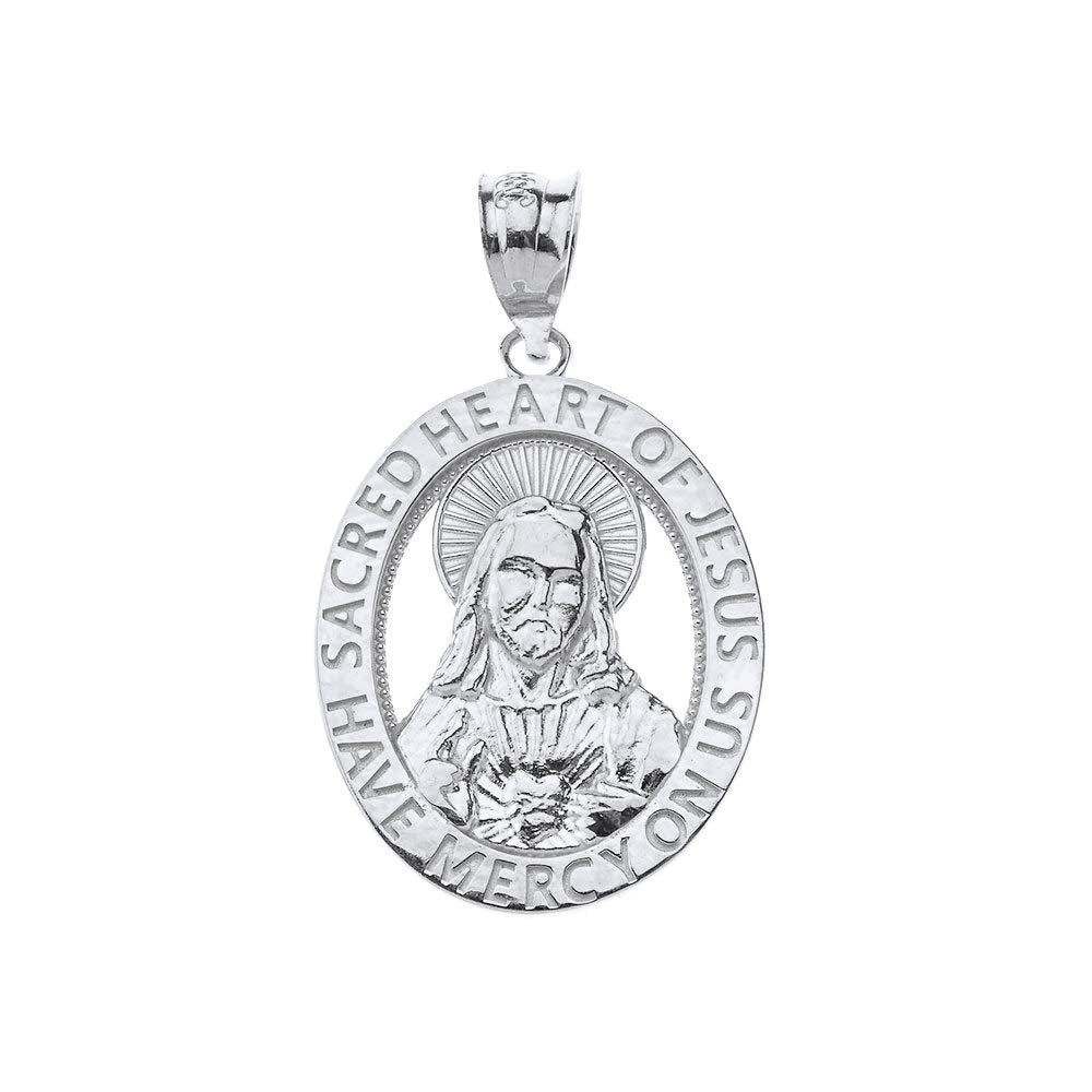 CaliRoseJewelry Sterling Silver Sacred Heart Jesus Have Mercy on Us Oval Pendant