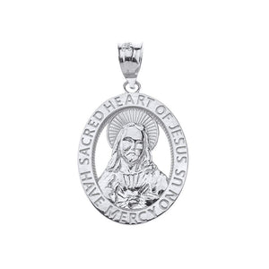 CaliRoseJewelry 10k Sacred Heart Jesus Have Mercy on Us Oval Pendant