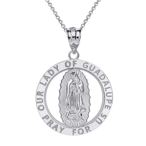 CaliRoseJewelry 10k Gold Our Lady of Guadalupe Pray for Us Round Charm Pendant Necklace
