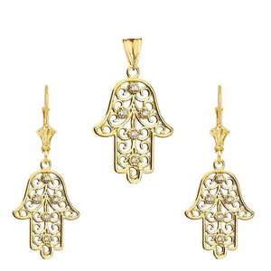 CaliRoseJewelry 14k Gold Hamsa Hand Diamond Pendant and Earrings Set