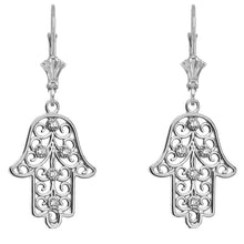 Load image into Gallery viewer, CaliRoseJewelry Sterling Silver Hamsa Hand Cubic Zirconia Pendant Necklace and Earrings Set