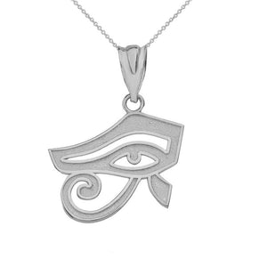 10k White Gold Egyptian Eye of Horus Pendant Necklace
