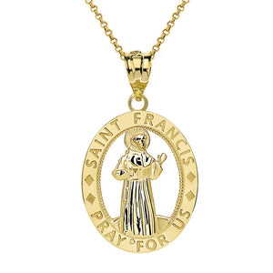 CaliRoseJewelry 14k Gold Saint Francis of Assisi Pray for Us Oval Charm Pendant Necklace