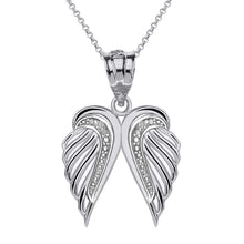 Load image into Gallery viewer, CaliRoseJewelry 10k Gold Feather Dainty Angel Double Wing Cubic Zirconia Pendant Necklace