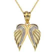 Load image into Gallery viewer, CaliRoseJewelry 10k Gold Feather Dainty Angel Double Wing Diamond Pendant Necklace