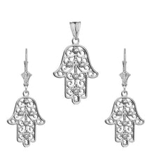 Load image into Gallery viewer, CaliRoseJewelry 14k Gold Hamsa Hand Diamond Pendant and Earrings Set