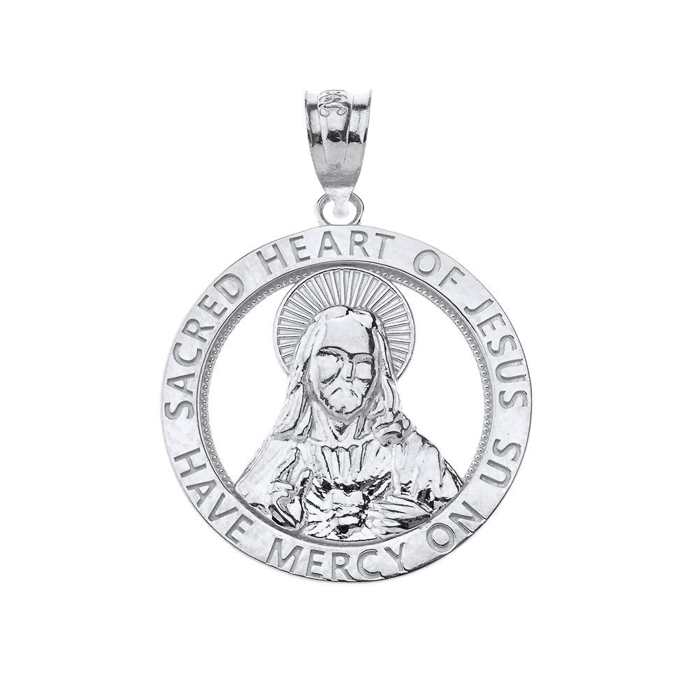 CaliRoseJewelry Sterling Silver Sacred Heart Jesus Have Mercy on Us Round Pendant Necklace