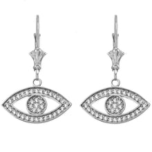 Load image into Gallery viewer, 14k Gold Evil Eye Cubic Zirconia Earrings