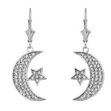 Load image into Gallery viewer, CaliRoseJewelry 14k Gold Crescent Moon and Star Cubic Zirconia Pendant Necklace and Earrings Set