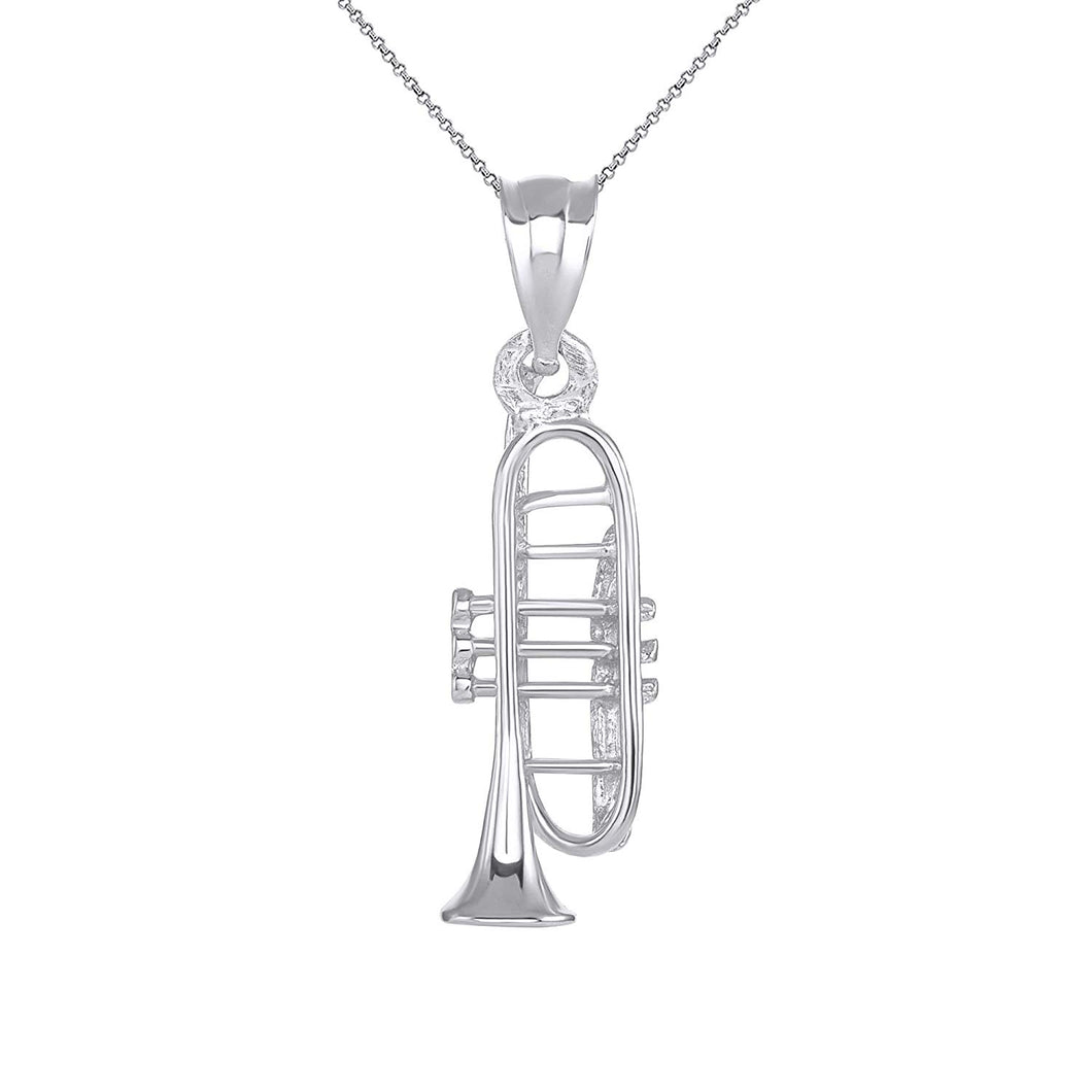 CaliRoseJewelry Sterling Silver Trumpet Horn Charm Pendant Necklace