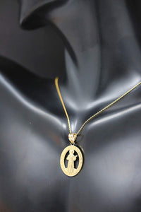 CaliRoseJewelry 10k Gold Saint Francis of Assisi Pray for Us Oval Charm Pendant Necklace
