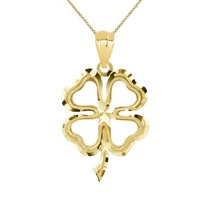 CaliRoseJewelry 14k Lucky Charm Four Leaf Clover Shamrock Irish Pendant Necklace