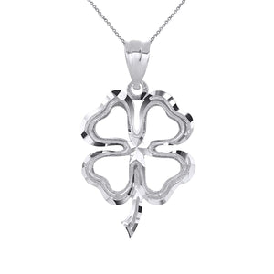 CaliRoseJewelry Sterling Silver Lucky Charm Four Leaf Clover Shamrock Irish Pendant Necklace